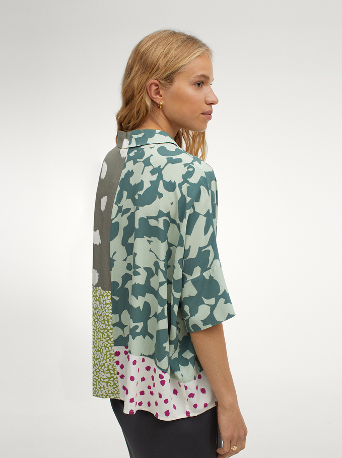 Printed Oversized Shirt, Multicolor, hi-res