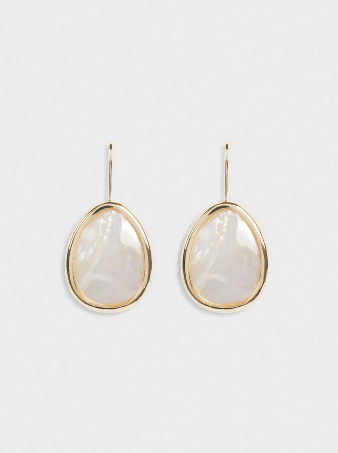 Long Shell Earrings, Golden, hi-res