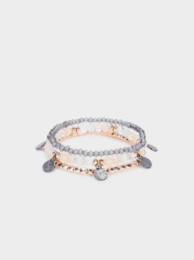 Set Of Elastic Bracelets With Beads, Orange, hi-res