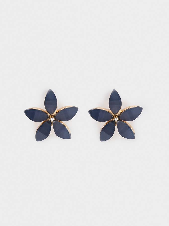 Small Gold Flower Earrings, Pink, hi-res