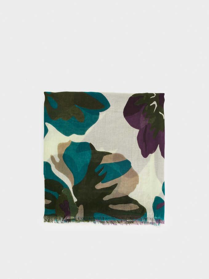 Floral Print Cotton Pashmina, Purple, hi-res