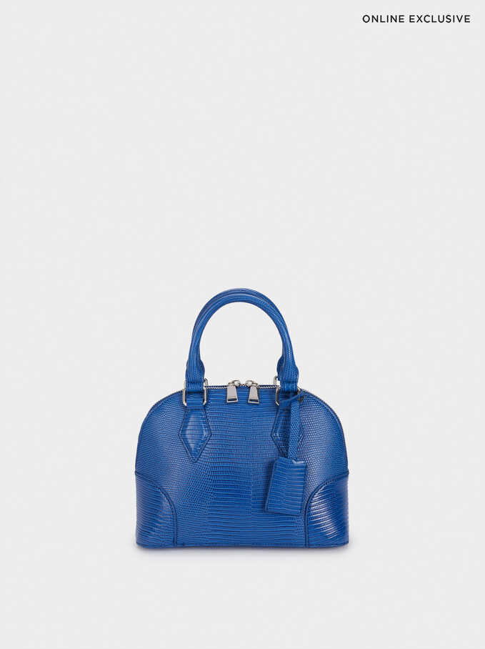 Online Exclusive Tote Bag With Animal Print, Blue, hi-res