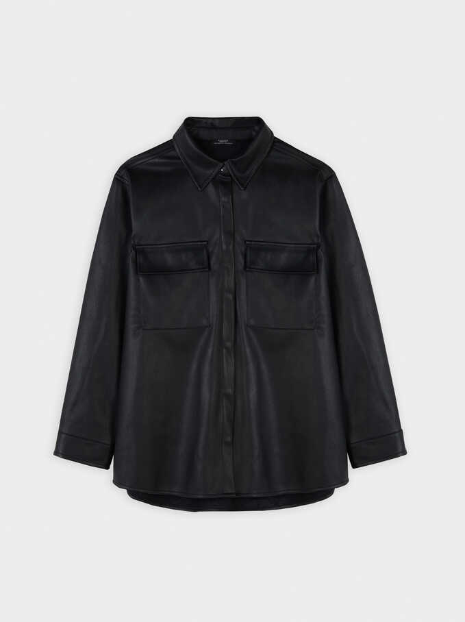 Faux Leather Oversize Shirt, Black, hi-res