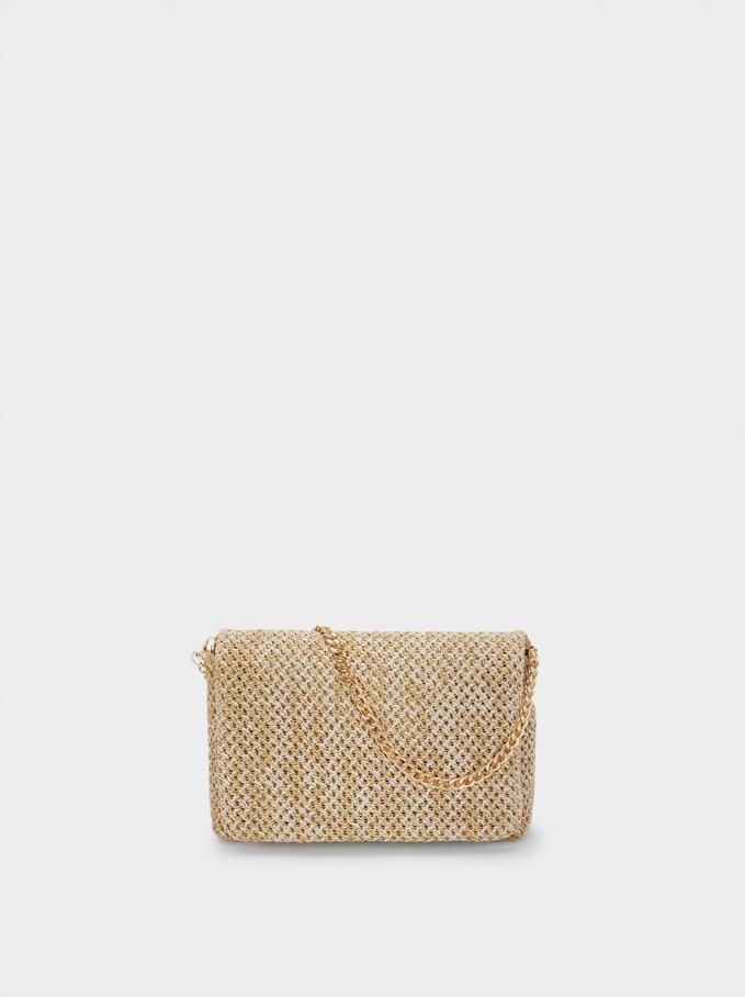 Raffia Textured Shoulder Party Bag, Ecru, hi-res