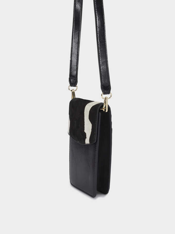 Leather Phone Case With Crossbody Strap, Black, hi-res
