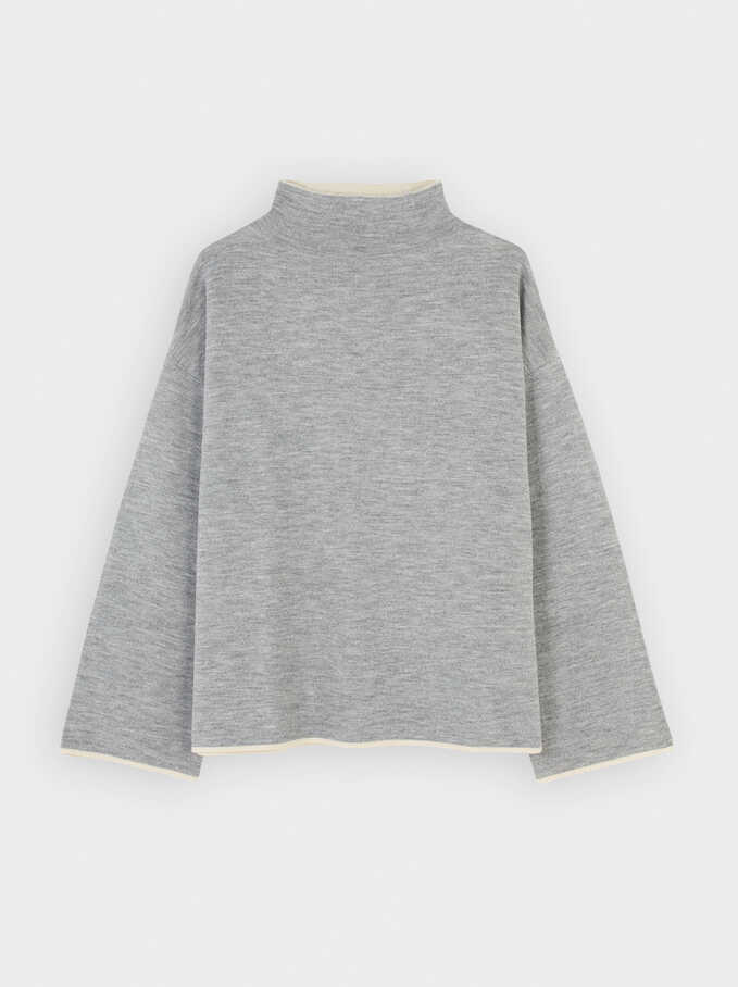Reversible Knitted High Neck Sweater, Grey, hi-res