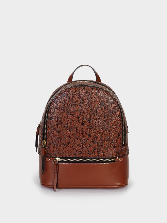 Embossed Backpack With Exterior Pocket, Camel, hi-res