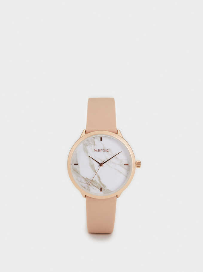 Watch With Silicone Wristband, Beige, hi-res