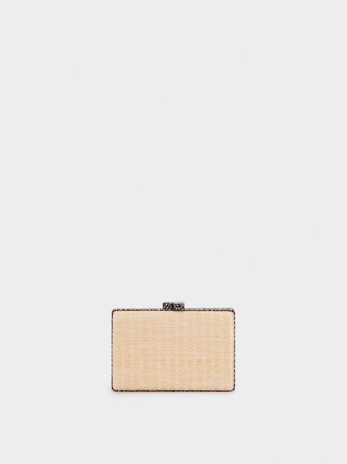 Peacock Party Clutch, Beige, hi-res