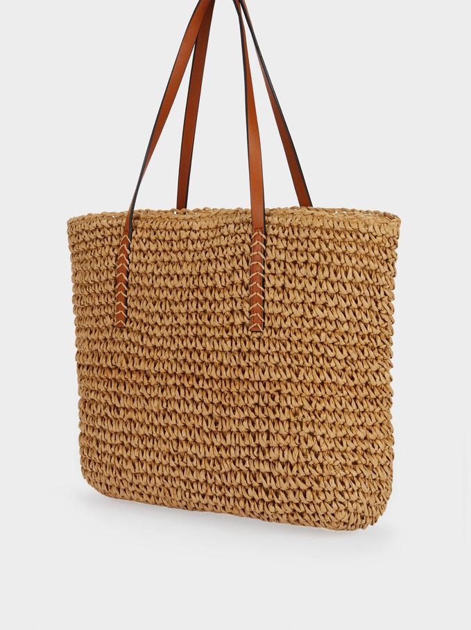 Mala Shopper Textura Ráfia, Bege, hi-res