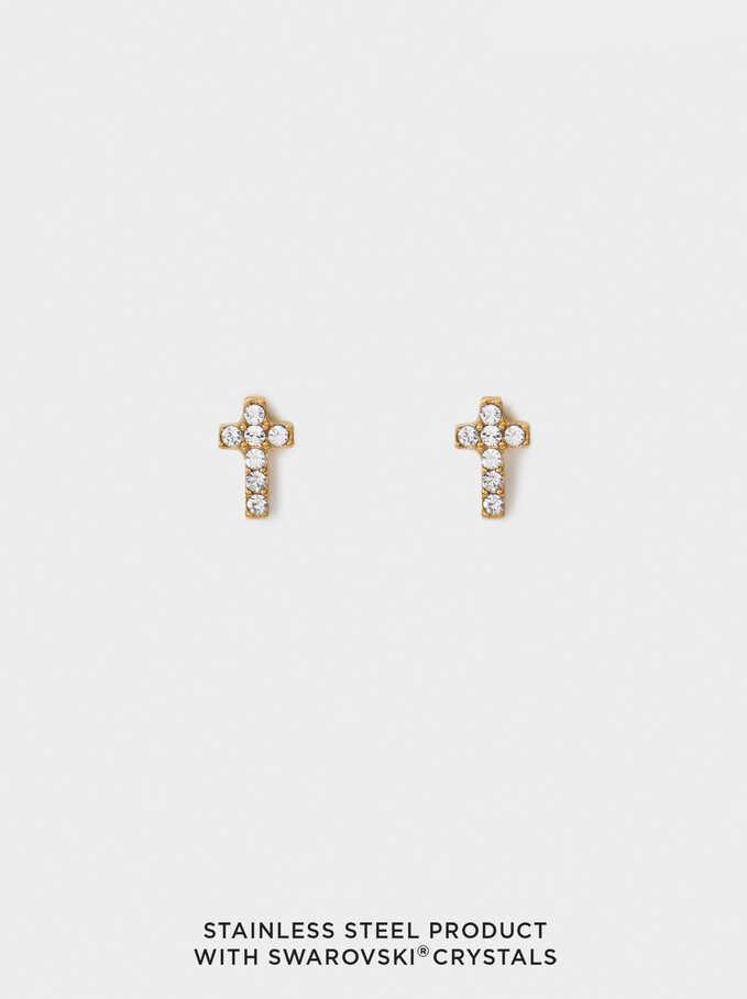 Pendientes Cortos De Acero Con Cristales Swarovski, Dorado, hi-res