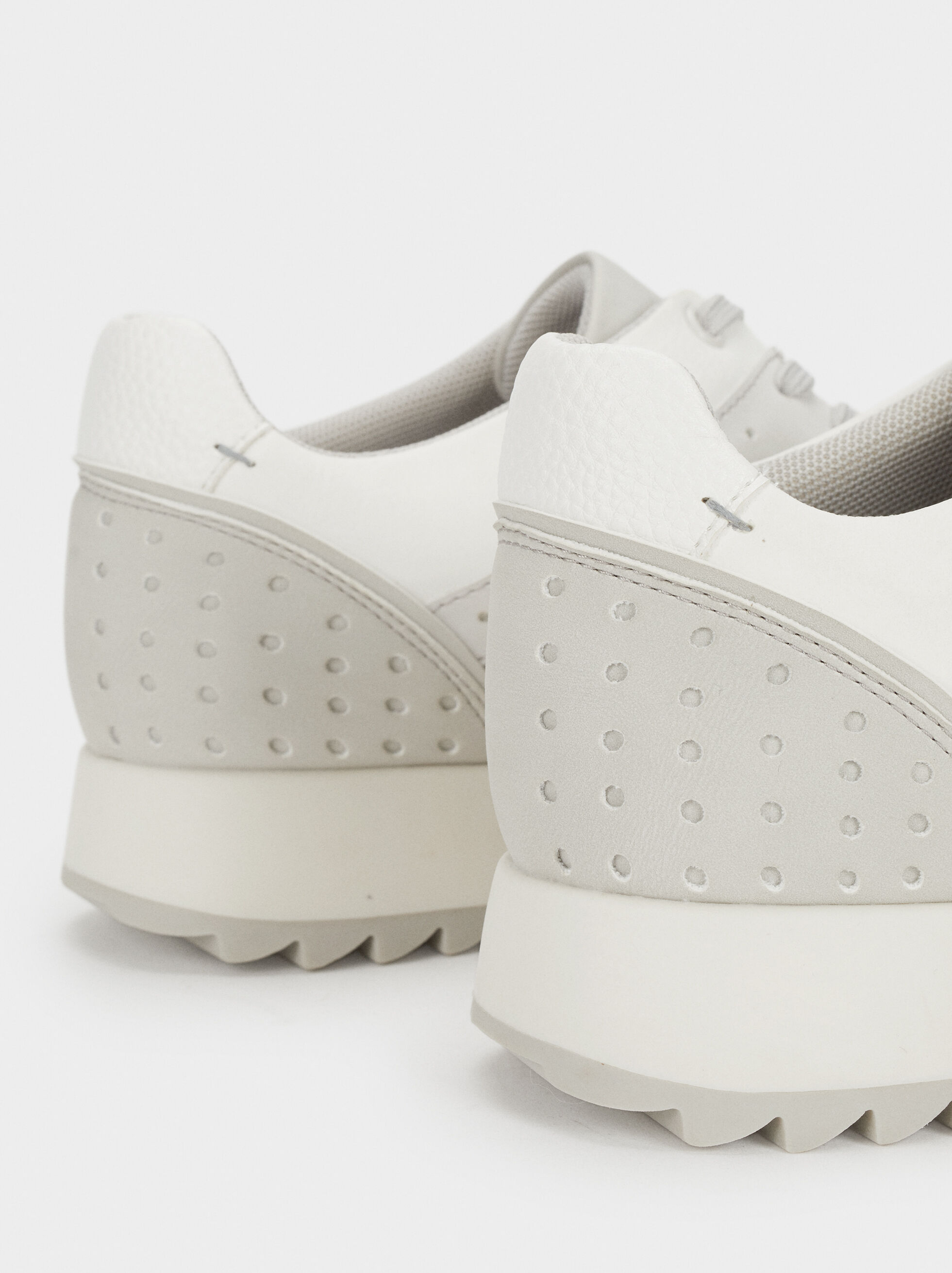 Sneakers With Perforation Detailing, White, hi-res