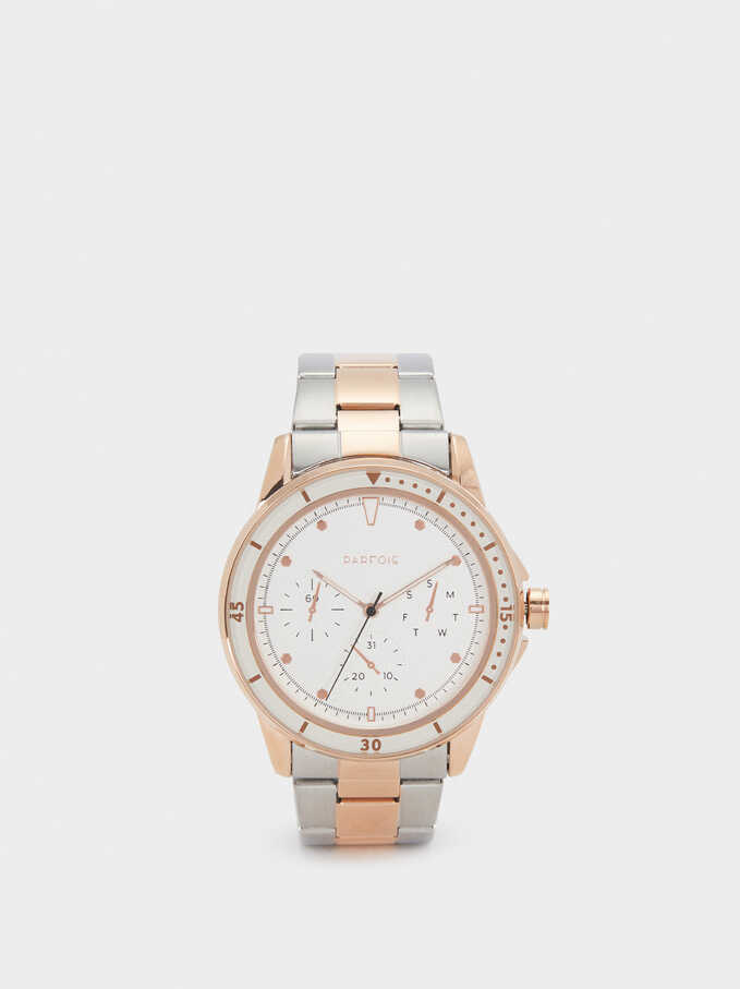 Stainless Steel Watch With Stopwatch, , hi-res