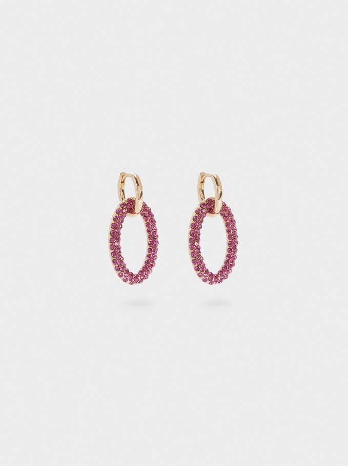 Hoop Earrings With Crystals, Pink, hi-res