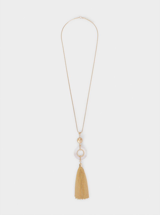 Long Gold Necklace With Pendant, Golden, hi-res