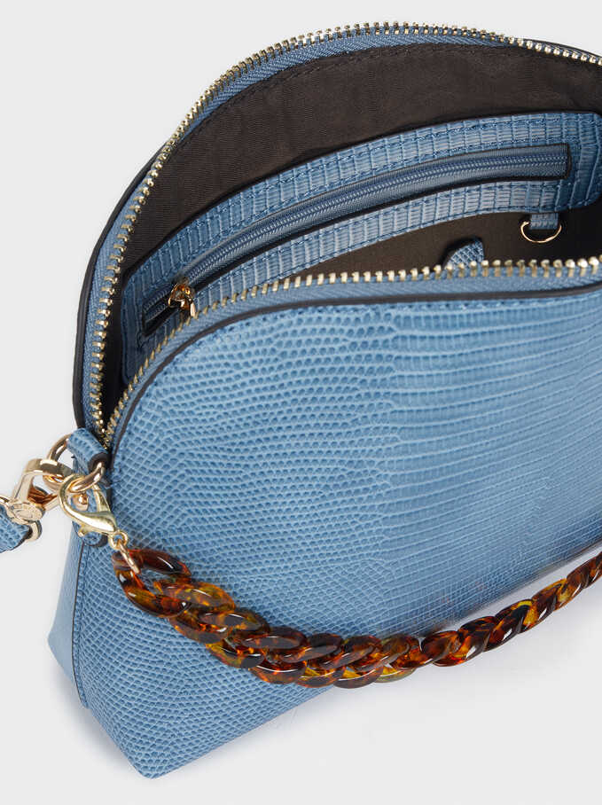 Animal Embossed Crossbody Bag, Blue, hi-res