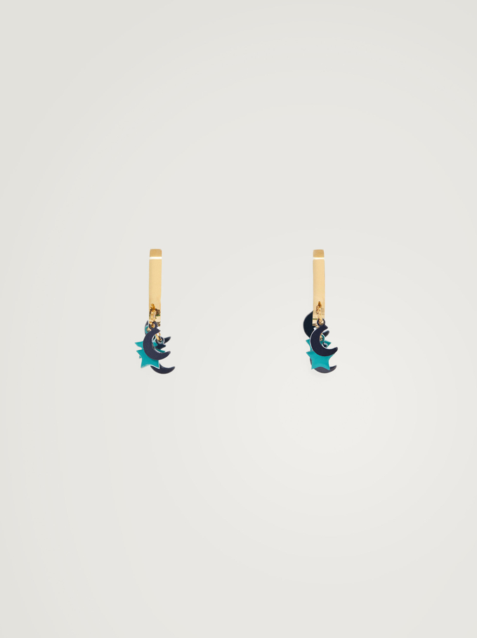 Créoles Courtes En Acier Lune Et Étoile, Multicolore, hi-res