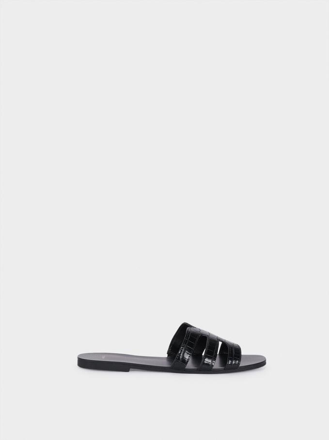 Sandales Plates Gravées Animal, Noir, hi-res