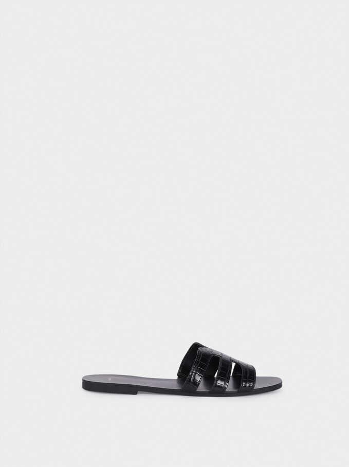Embossed Animal Print Flat Sandals, Black, hi-res