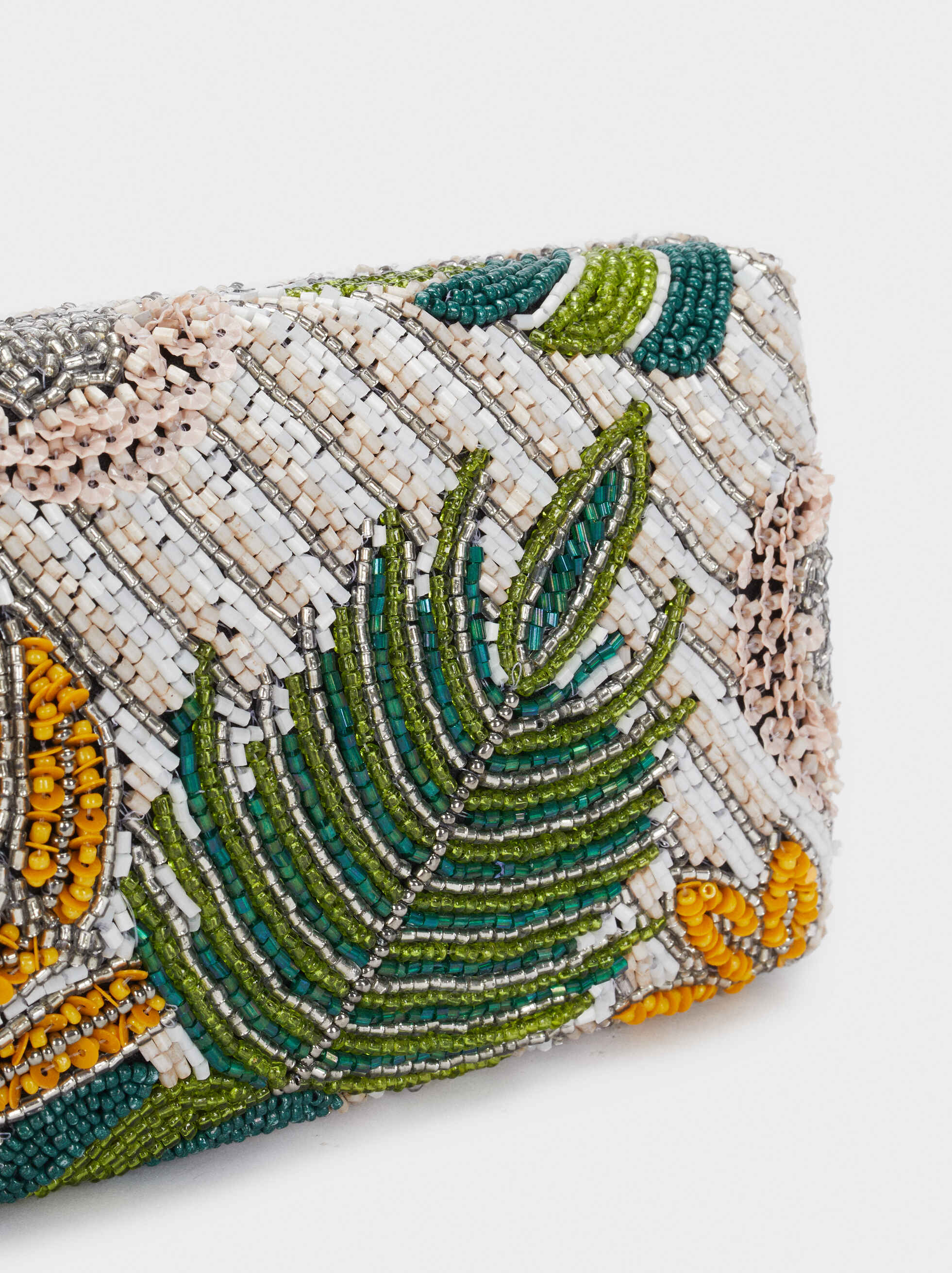 Clutch With Leaf Design And Beading, Green, hi-res