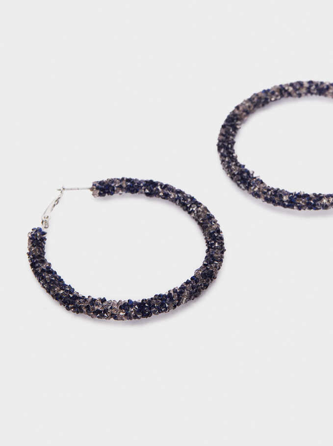 Large Hoop Earrings With Crystals, Blue, hi-res