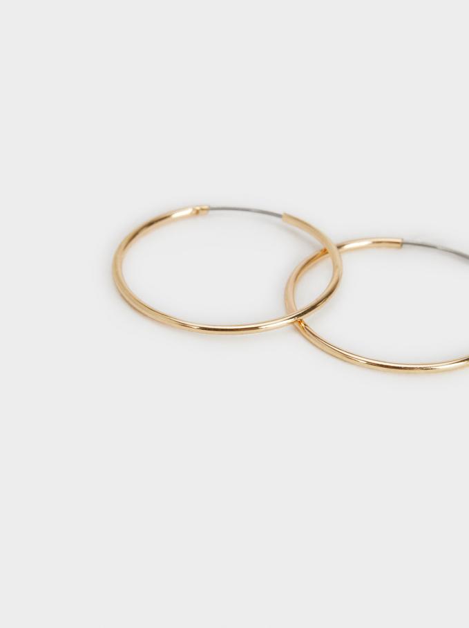 Basic Short Hoop-Earrings, Golden, hi-res