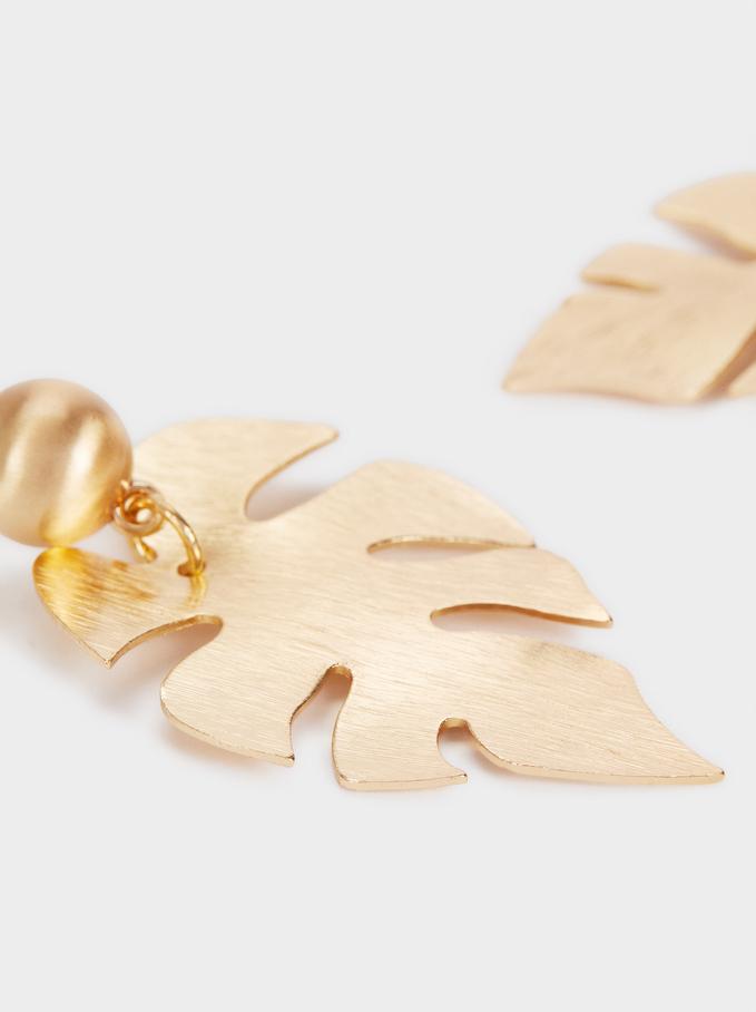 Gold Leaf Long Earrings, Golden, hi-res