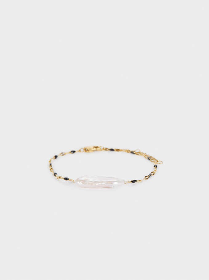Multicoloured Steel Bracelet With Pearl, Black, hi-res