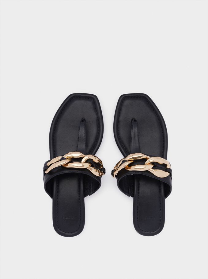 Flat Sandals With Chain, Black, hi-res