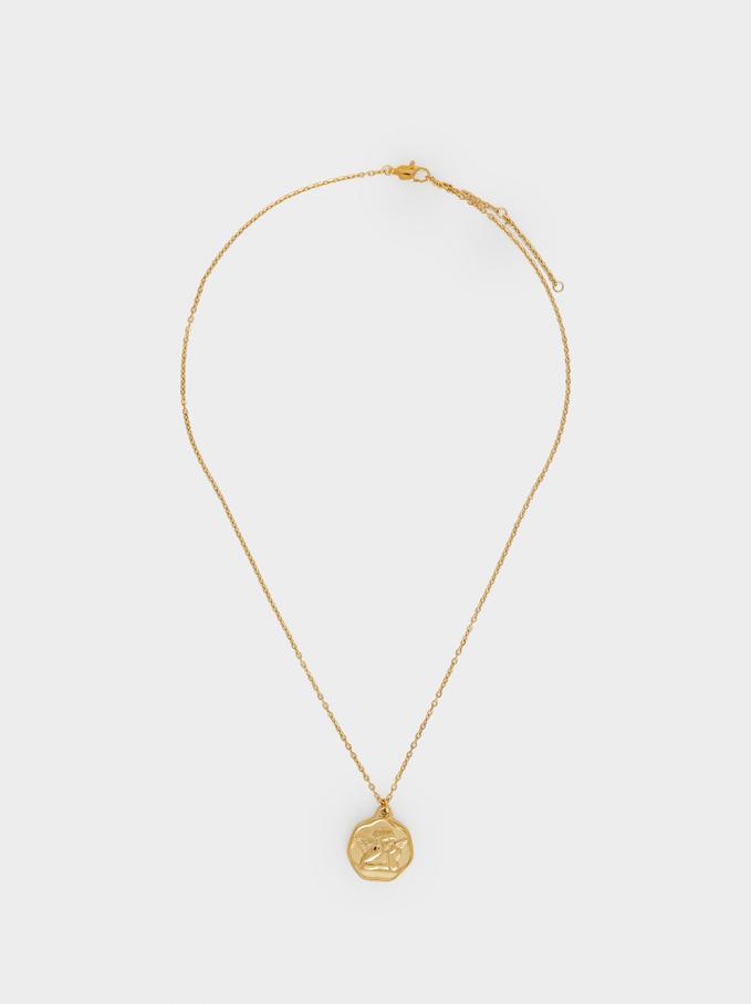 Short Steel Necklace With Medallion, Golden, hi-res