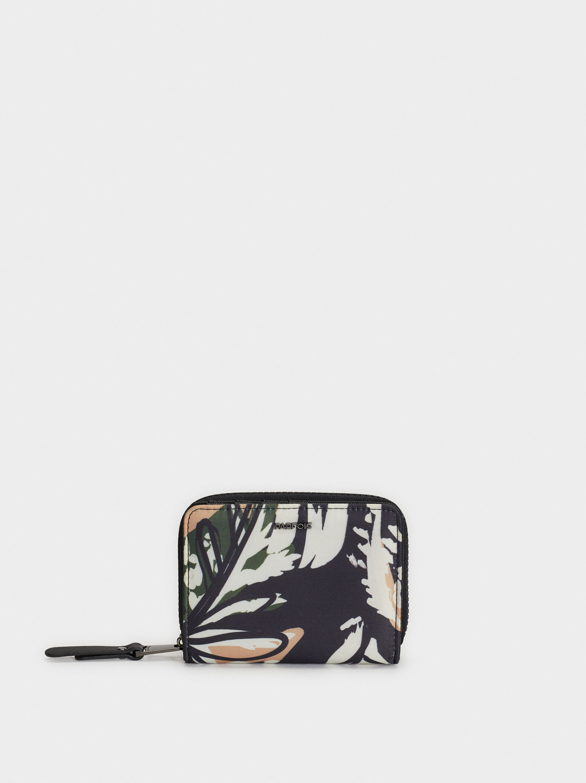 Small Printed Nylon Purse, Black, hi-res