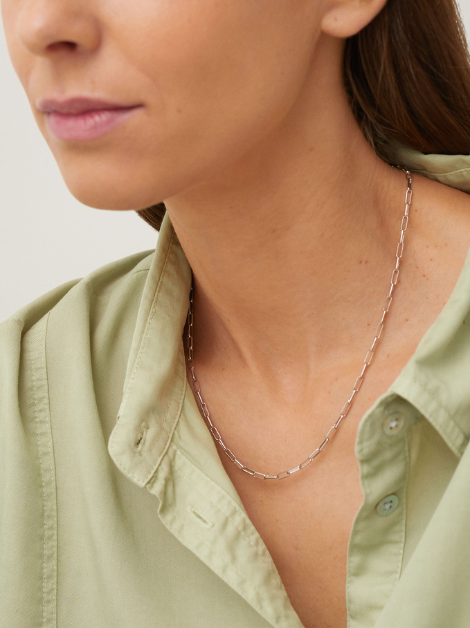 Short Chain Necklace, Silver, hi-res