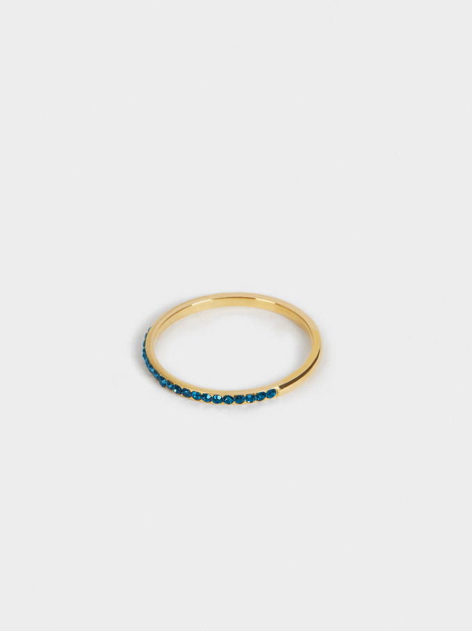 Stainless Steel Ring With Crystals, Blue, hi-res