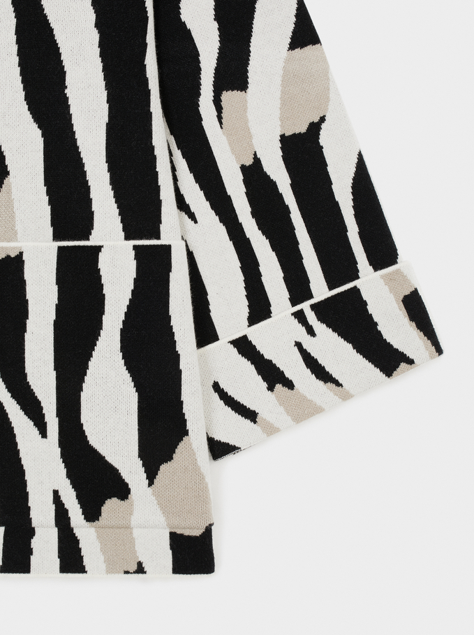 Animal Print Knit Cardigan, Ecru, hi-res