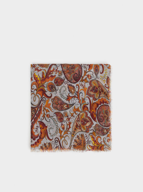 Paisley Print Pocket Square, , hi-res