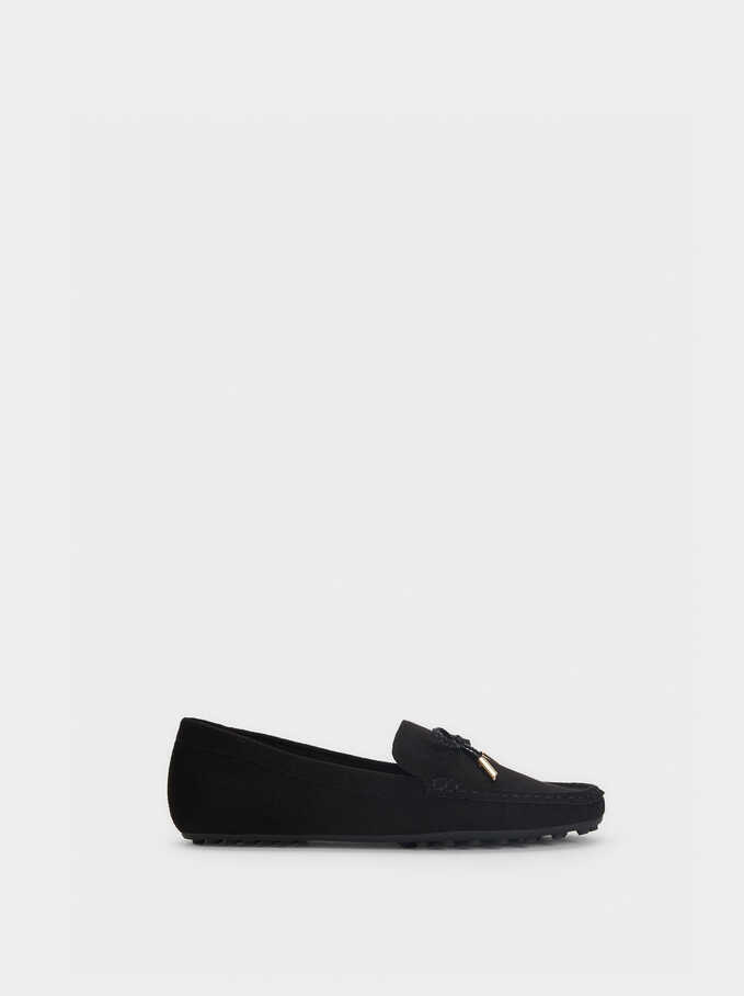 Fake Suede Moccasins, Black, hi-res