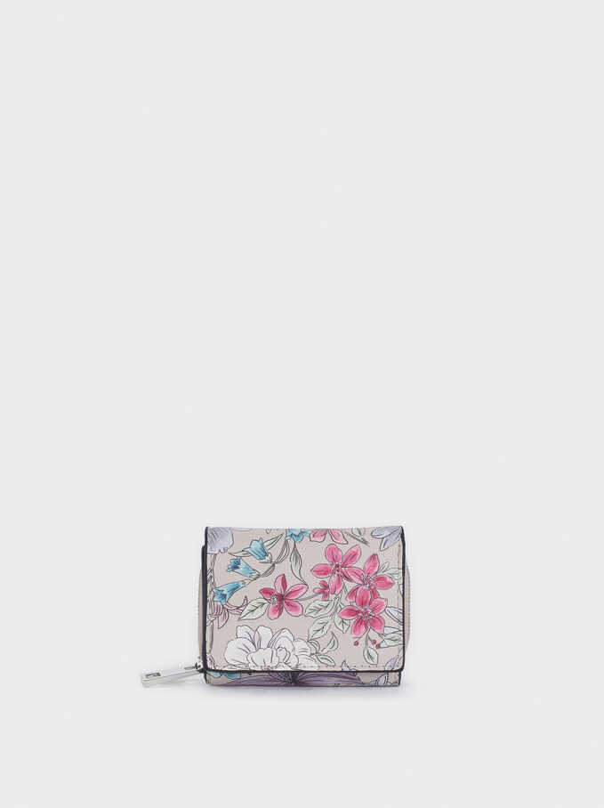 Compact Floral Print Wallet, Brown, hi-res