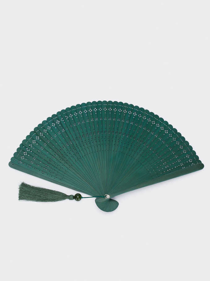 Perforated Fan With Tassel, Green, hi-res