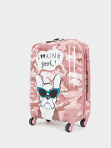 Printed Carry-On Trolley, Pink, hi-res
