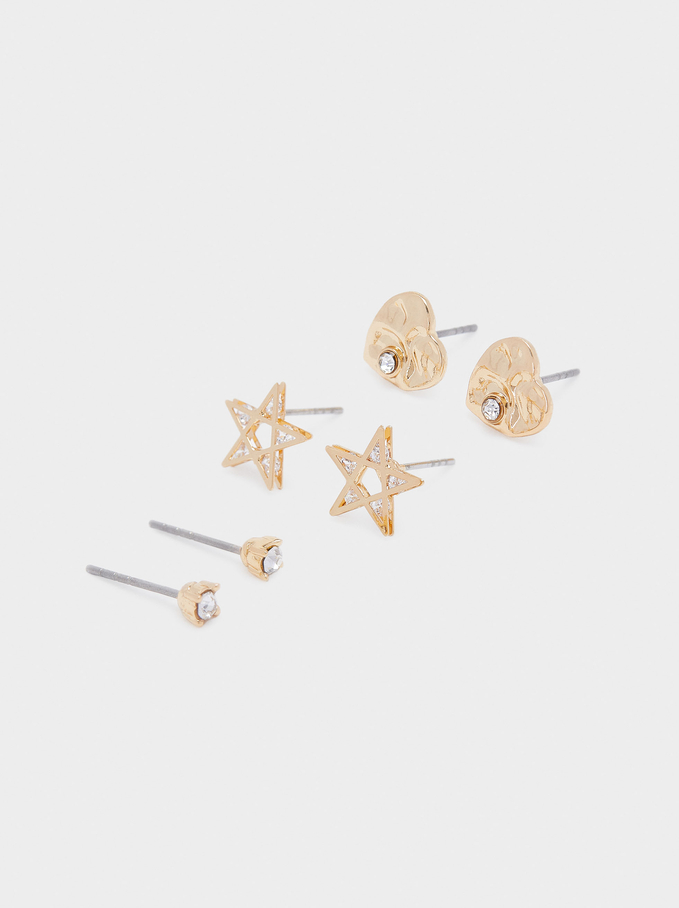 Set Of Star And Heart Earrings, Golden, hi-res