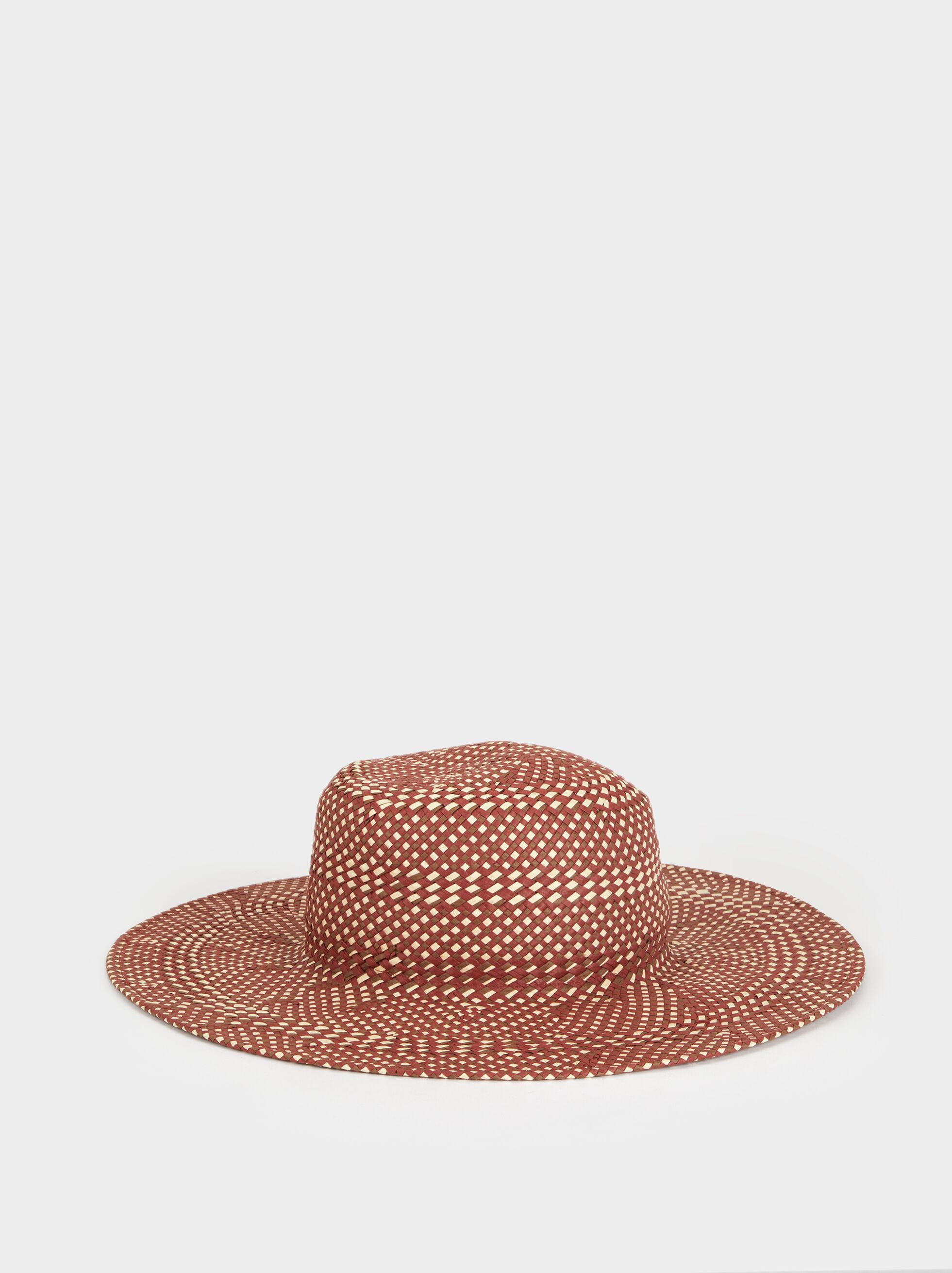Faux Raffia Hat, Red, hi-res