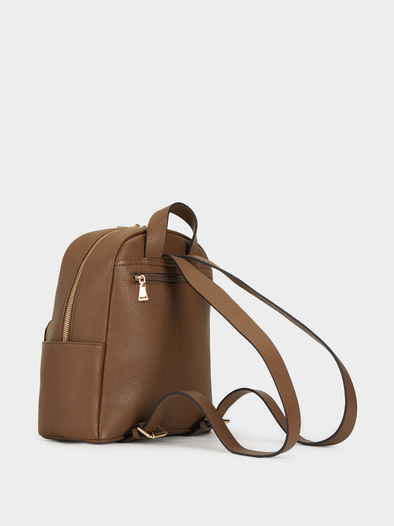 Faux Leather Backpack With Mini Purse, Brown, hi-res