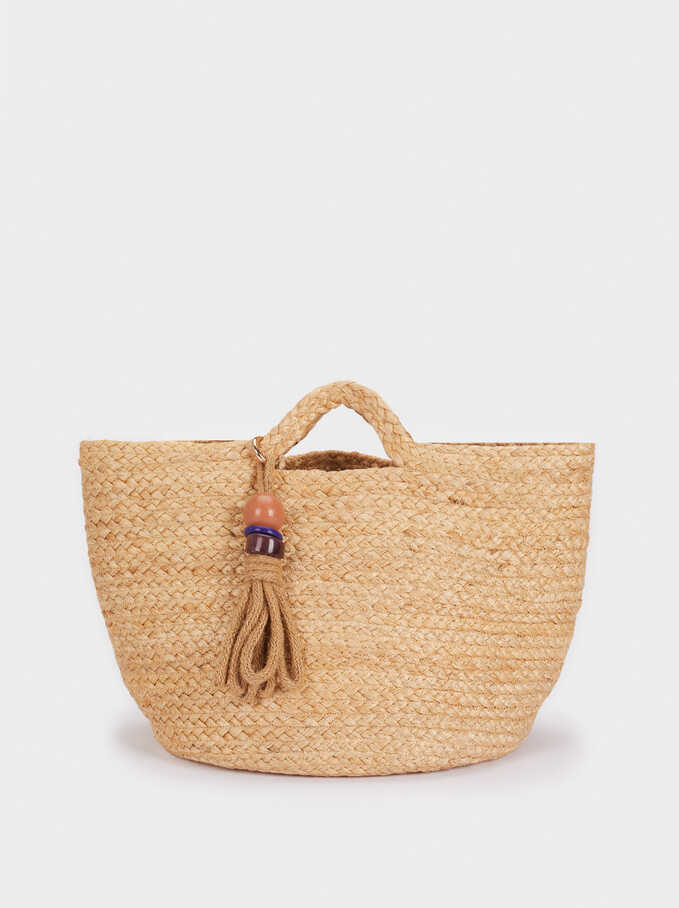 Textured Raffia Tote Bag, Beige, hi-res