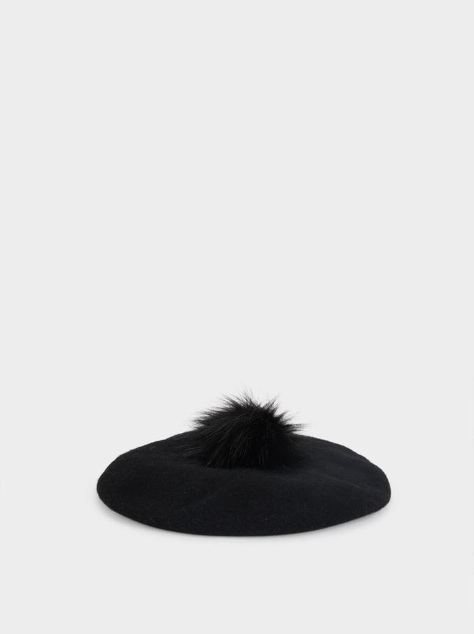 Wool Beret With Pompom, Black, hi-res