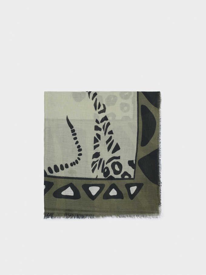 Foulard Imprimé Animaux, Vert, hi-res