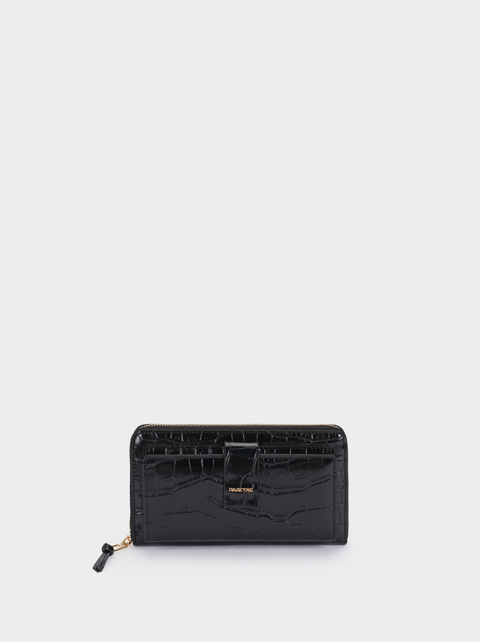 Large Embossed Wallet, Black, hi-res