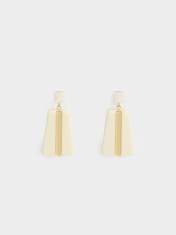 Long Land Geometric Earrings, Yellow, hi-res