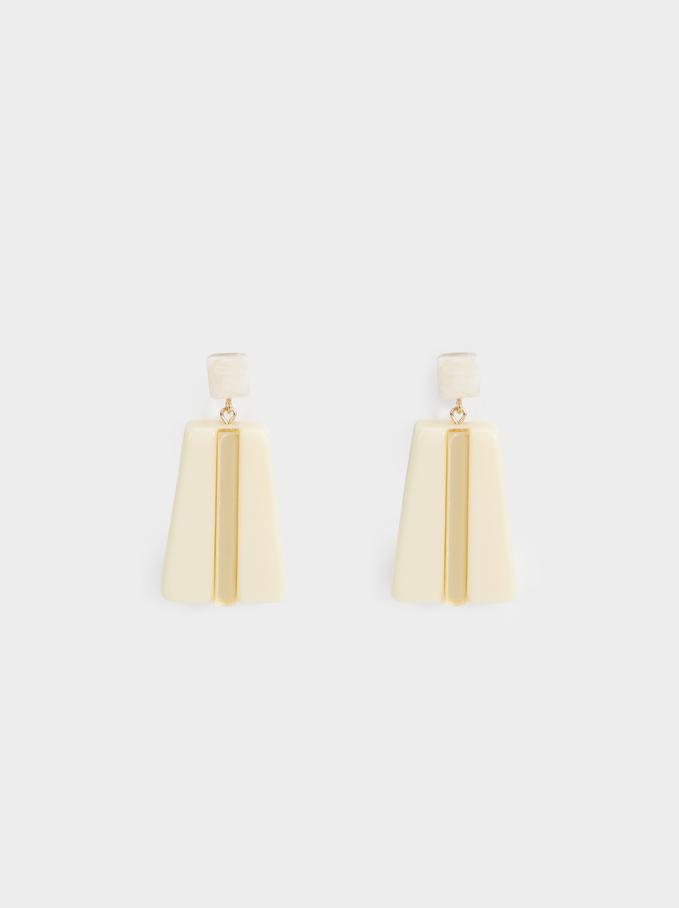 Long Land Geometric Earrings, Yellow, hi-res