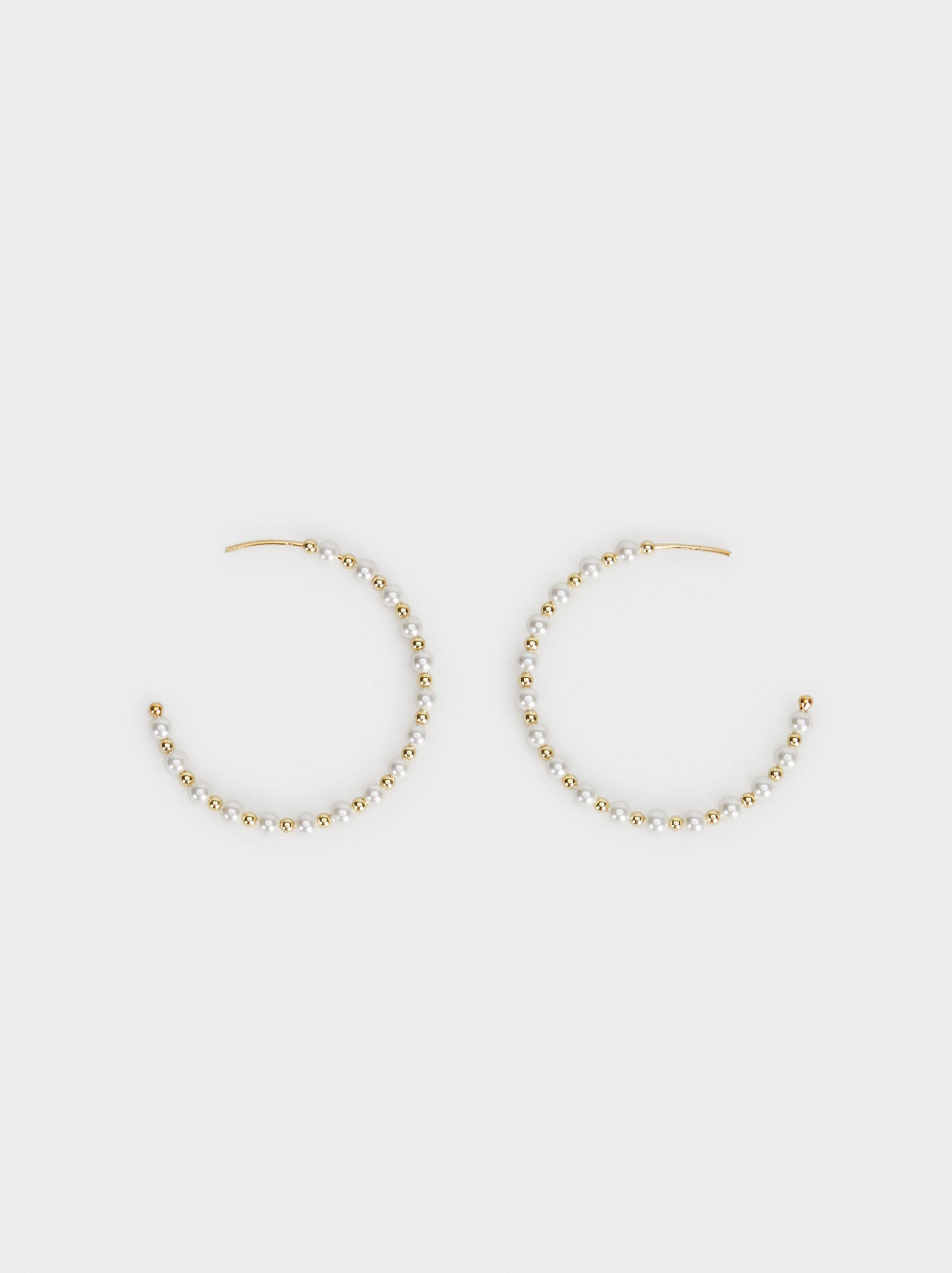 Medium Silver 925 Hoop Earrings With Faux Pearls, Beige, hi-res