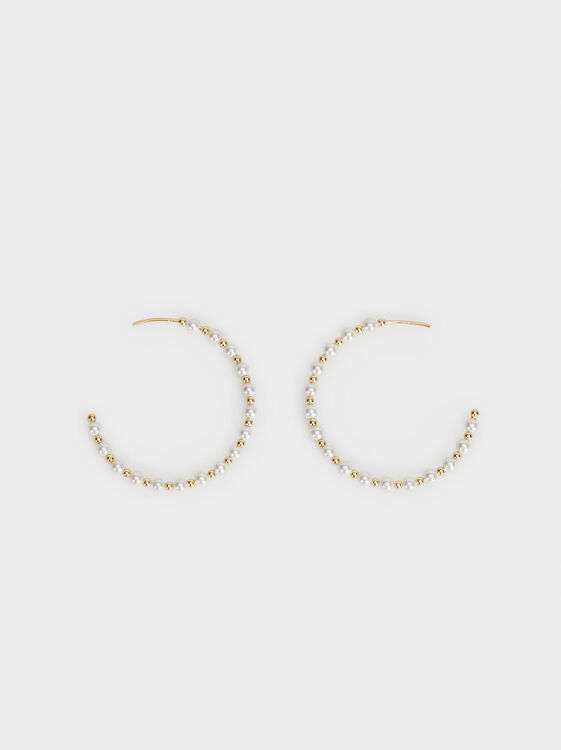 Medium Silver 925 Hoop Earrings With Faux Pearls, Beige, hi-res